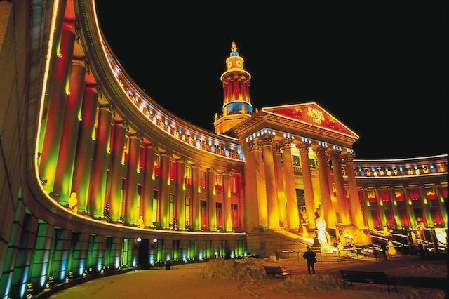 City Hall in Denver lit up for Christmas