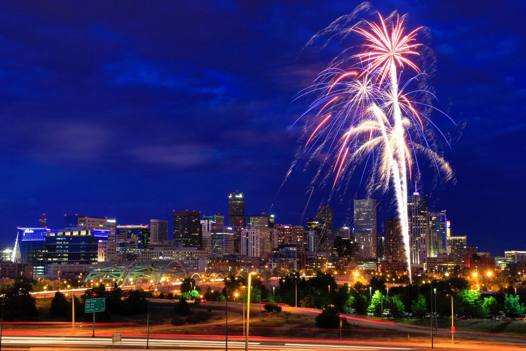 Fireworks on the 4th of July in Denver, Colorado. Denver is the most populous city in Colorado.