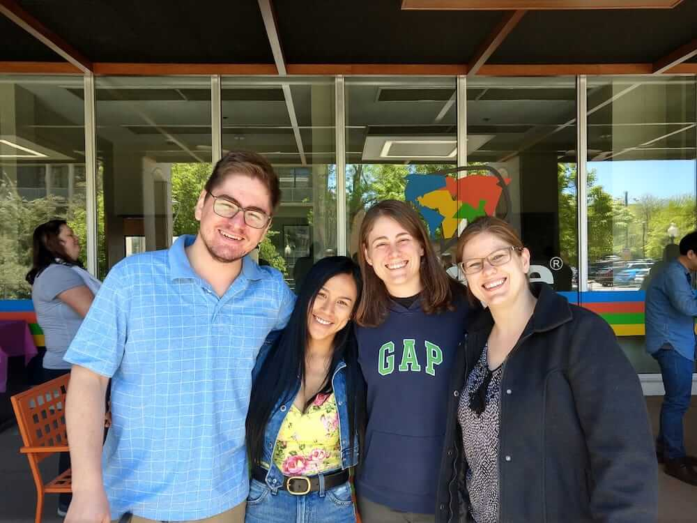 The Tessaro siblings, from Brazil, with their teacher at BridgeEnglish