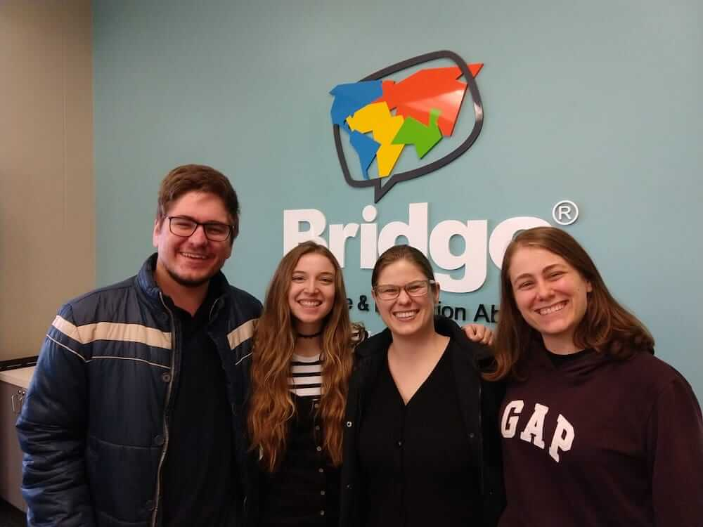 Juliana with her siblings, from Brazil, studying at BridgeEnglish